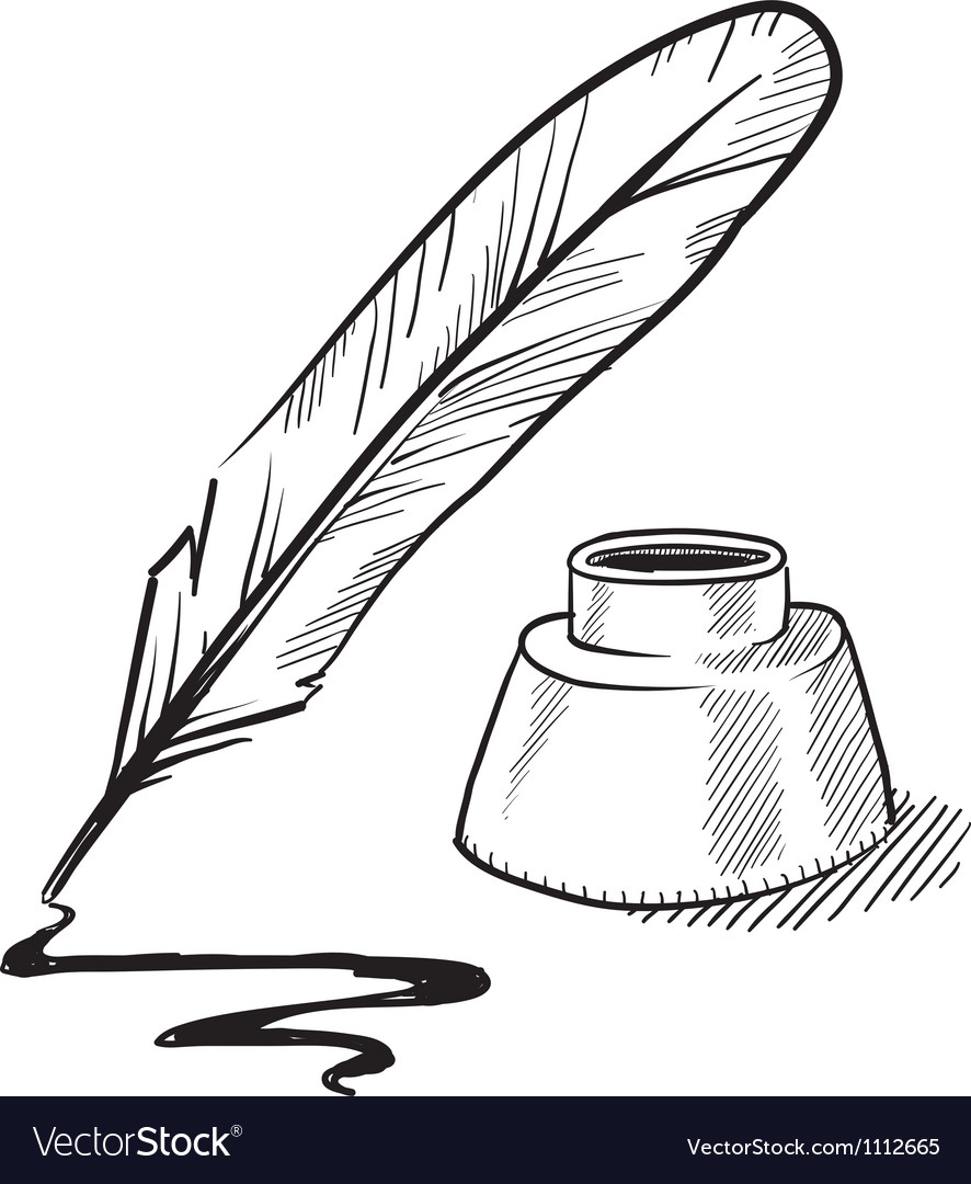 Doodle pen feather ink