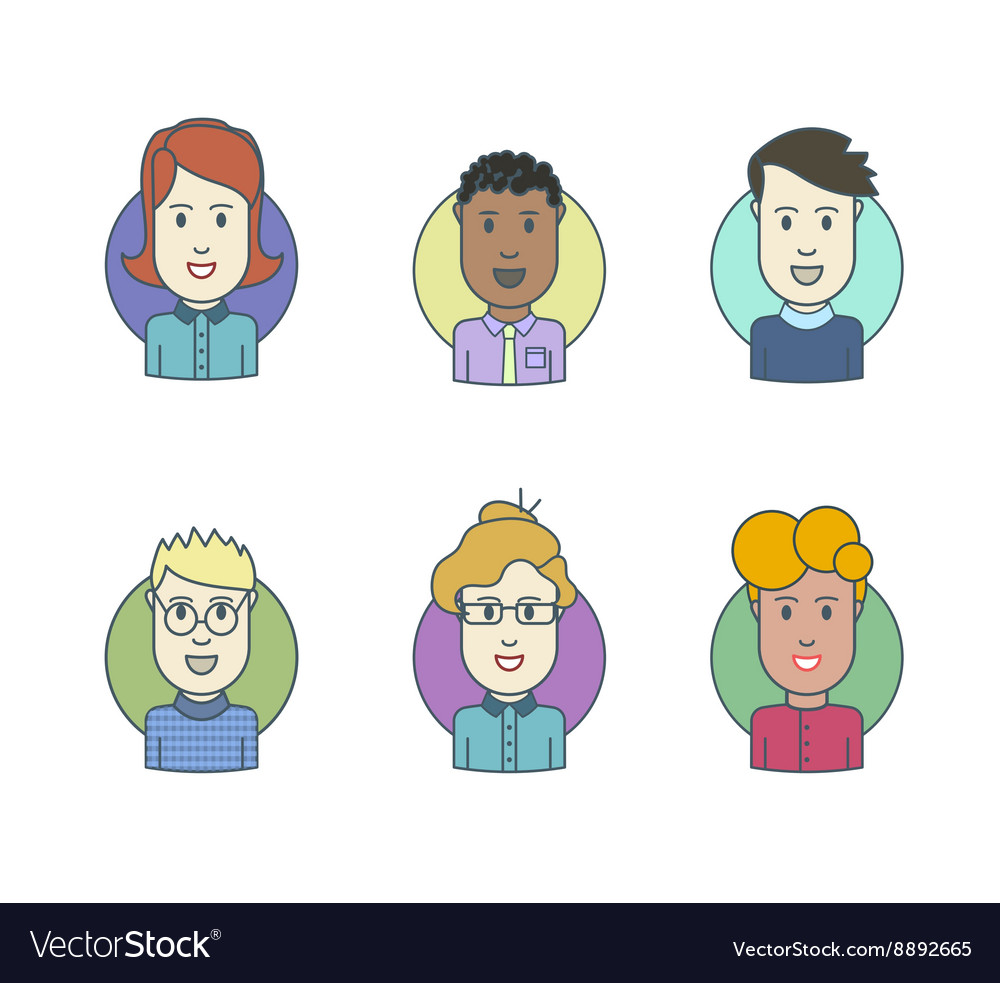 Flat line icons set of people stylish avatars