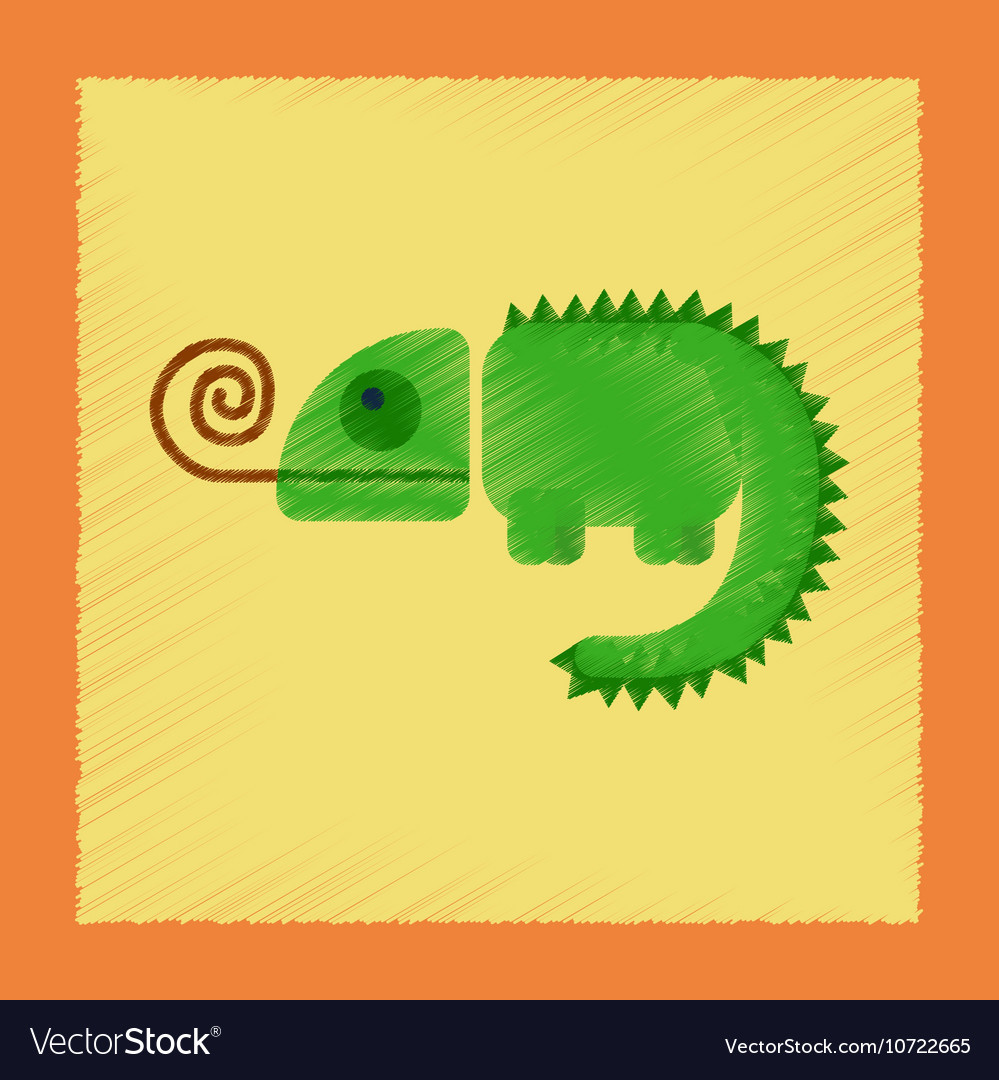 cute green chameleon in flat style