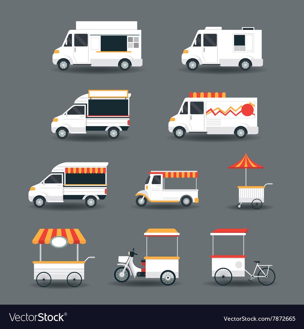 Food vehicles truck van pushcart white body