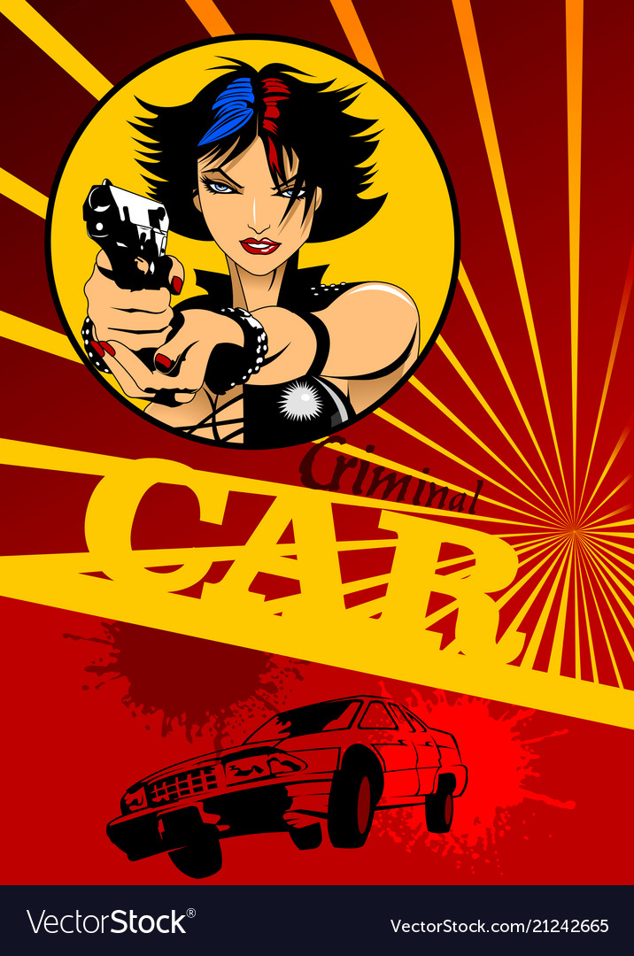 Girl with black gun and car