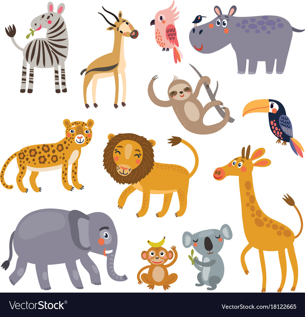 jungle animals set royalty free vector image vectorstock