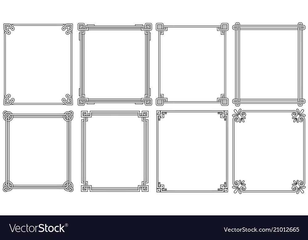 Ornamental frames with corners in different style vector image