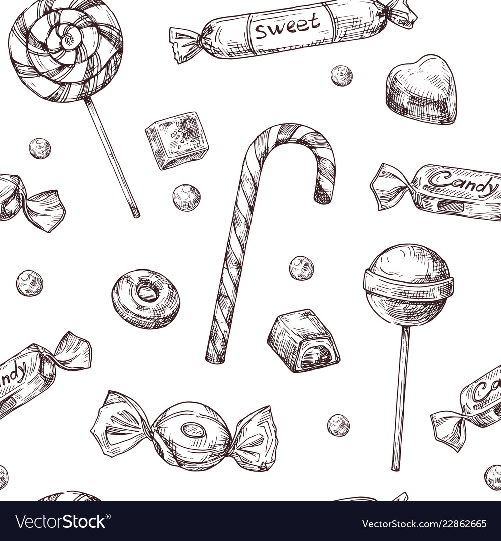 Seamless candy background sketch chocolate candy