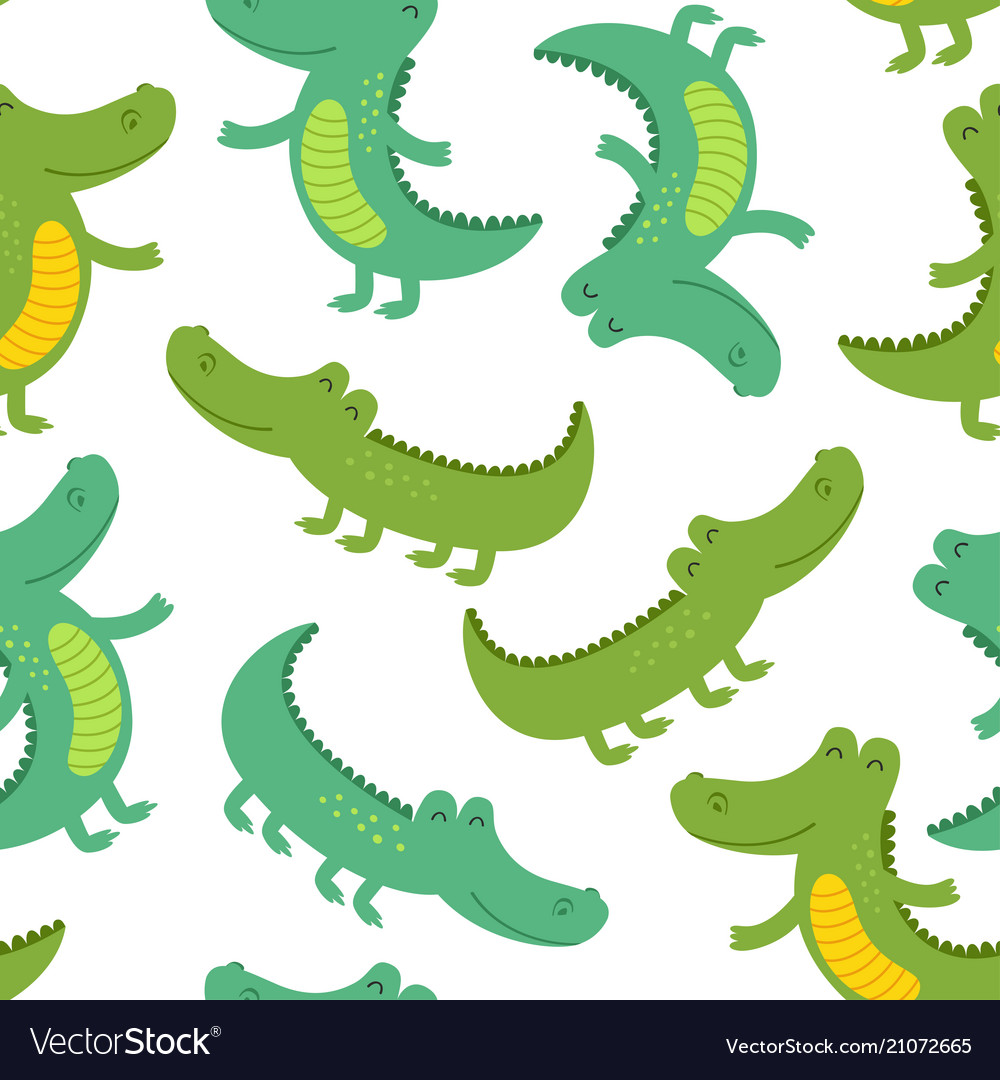 Seamless patter with funny crocodile