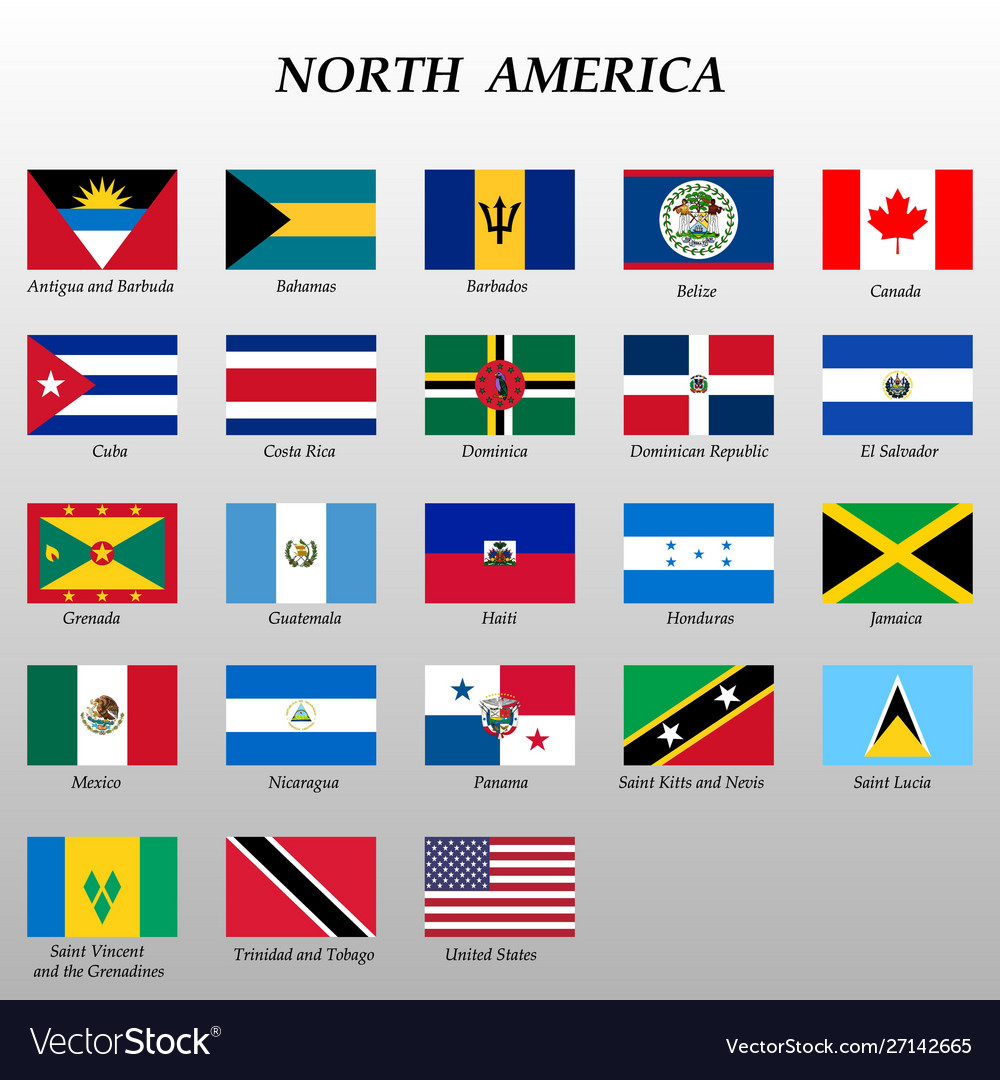 Set All Flags North America Royalty Free Vector Image