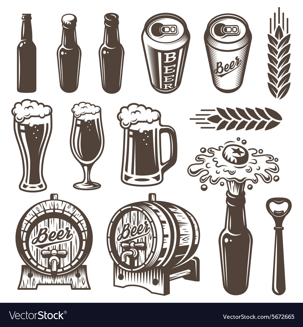 Set of vintage beer and brewery elements vector image