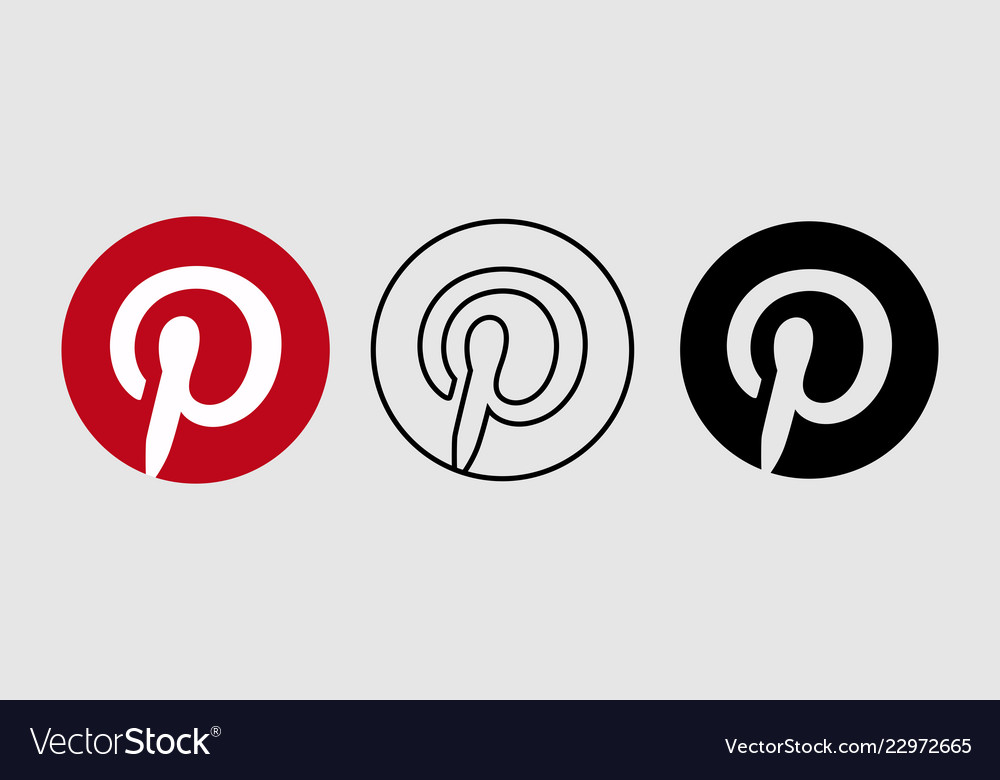 Social media icon set for pinterest in different