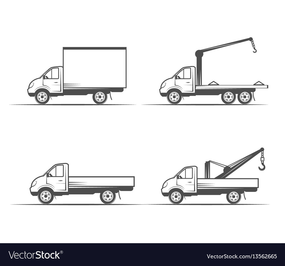 Truck grayscale images on a white background vector image