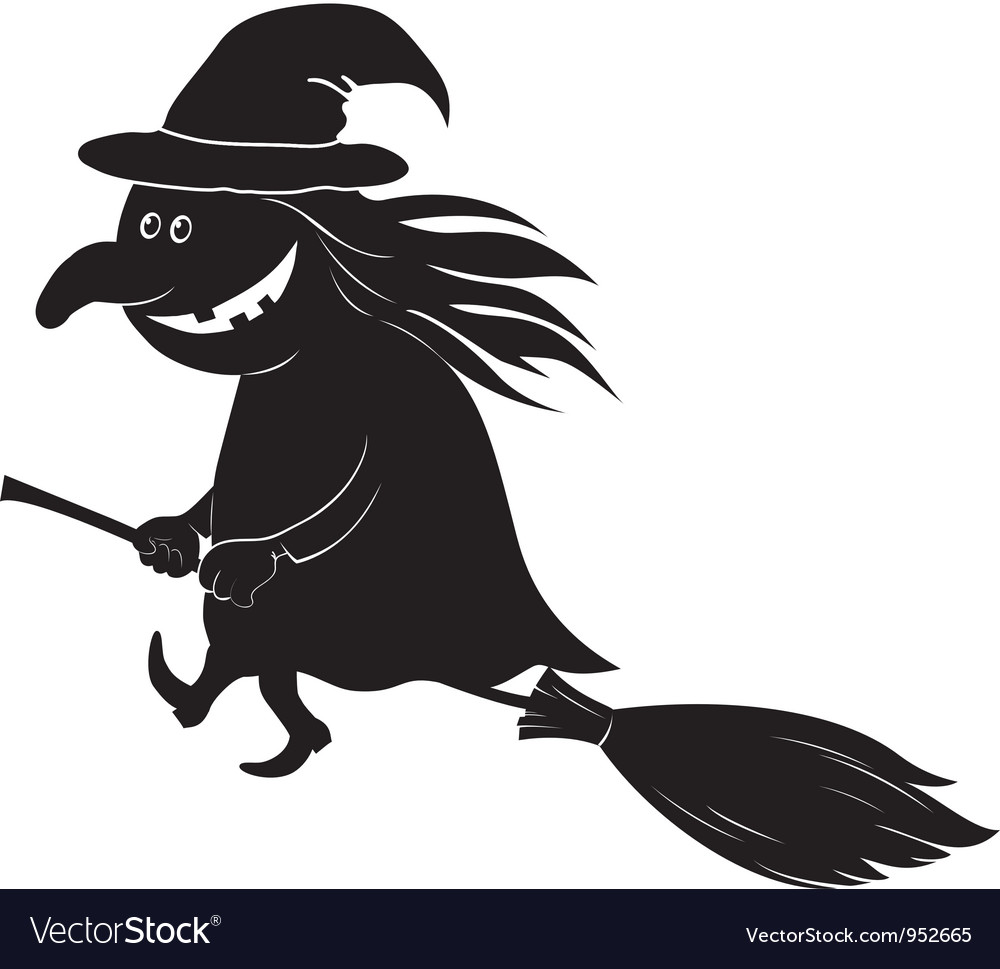 Witch flying on broom silhouette
