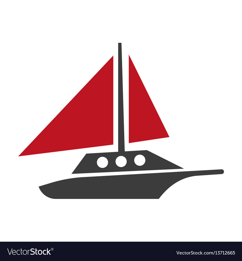 Yacht silhouette flat logotype isolated on