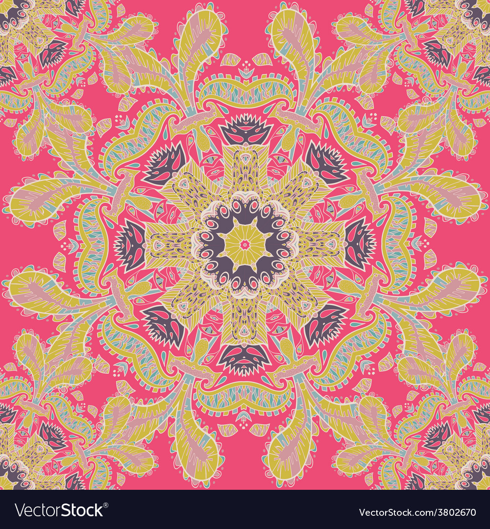 Abstract circle floral ornament Lace pattern vector image