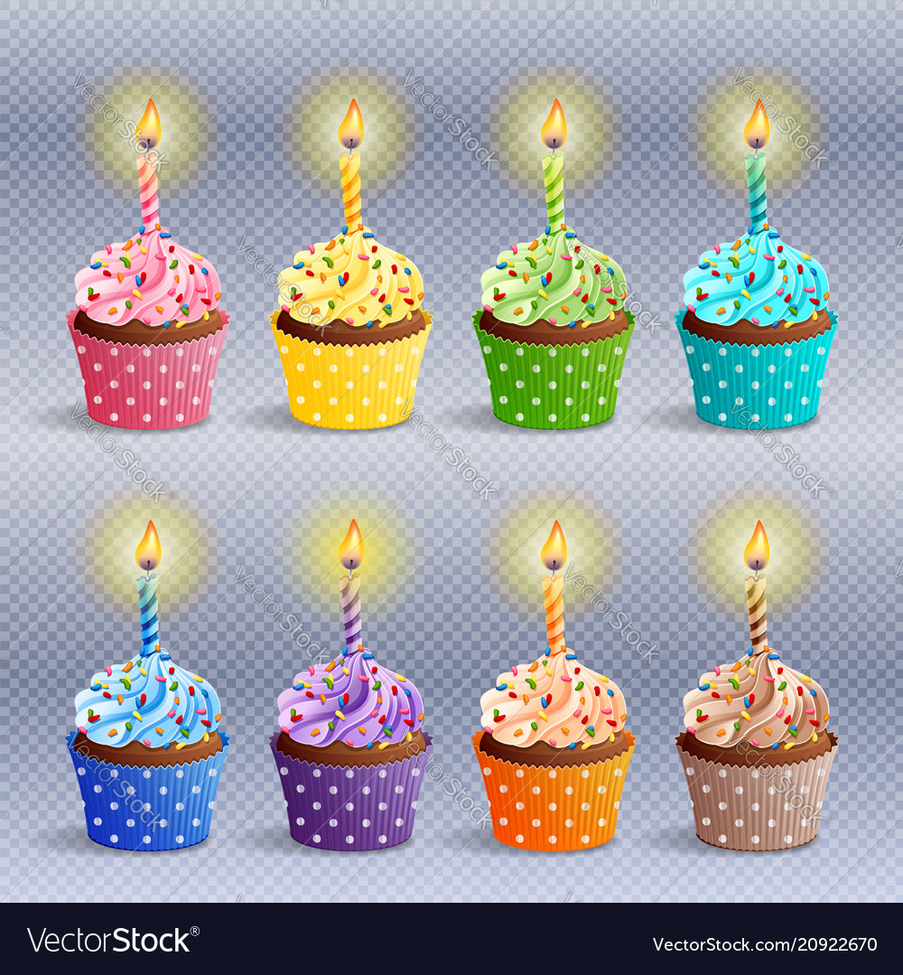 Marvelous Birthday Cupcakes Icons Royalty Free Vector Image Funny Birthday Cards Online Inifofree Goldxyz