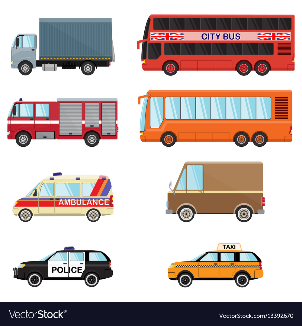 City transport set taxi bus truck minibus car