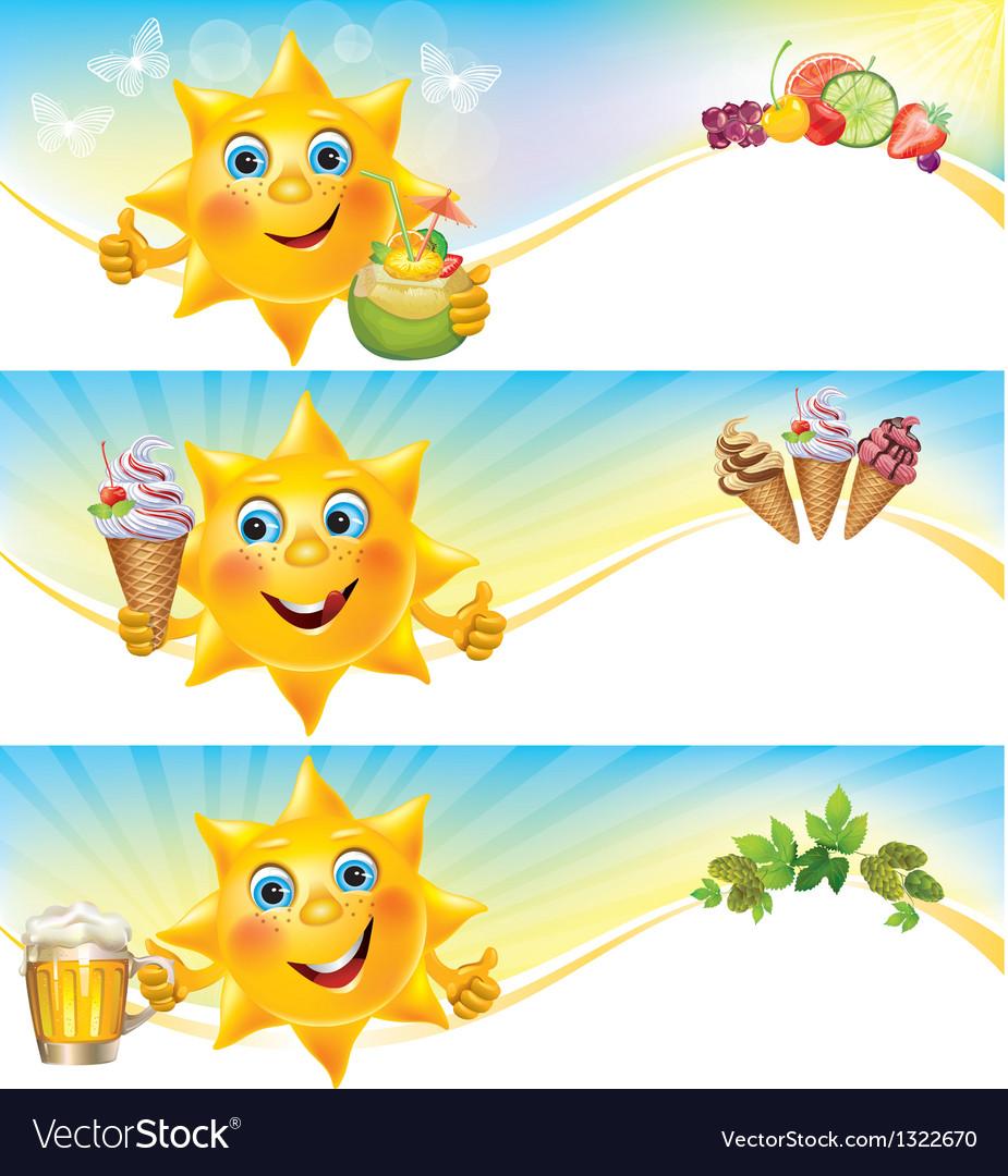 Fun sun with ice cream and cool drinks horizontal