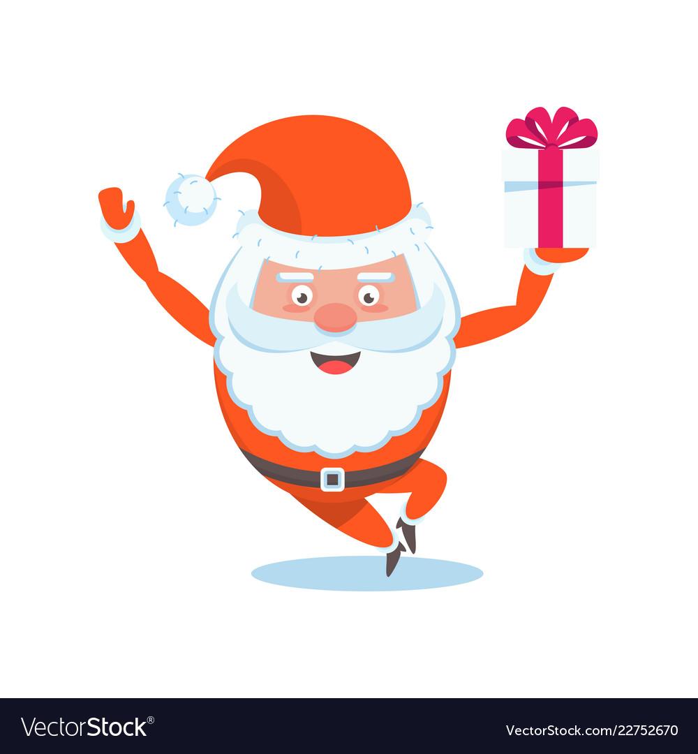 Funny happy santa claus character christmas cards