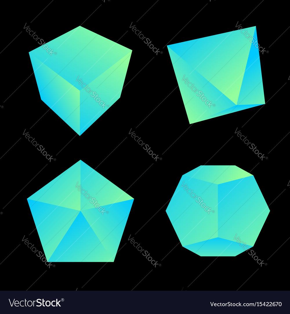 Glossy platonic solids set vector image