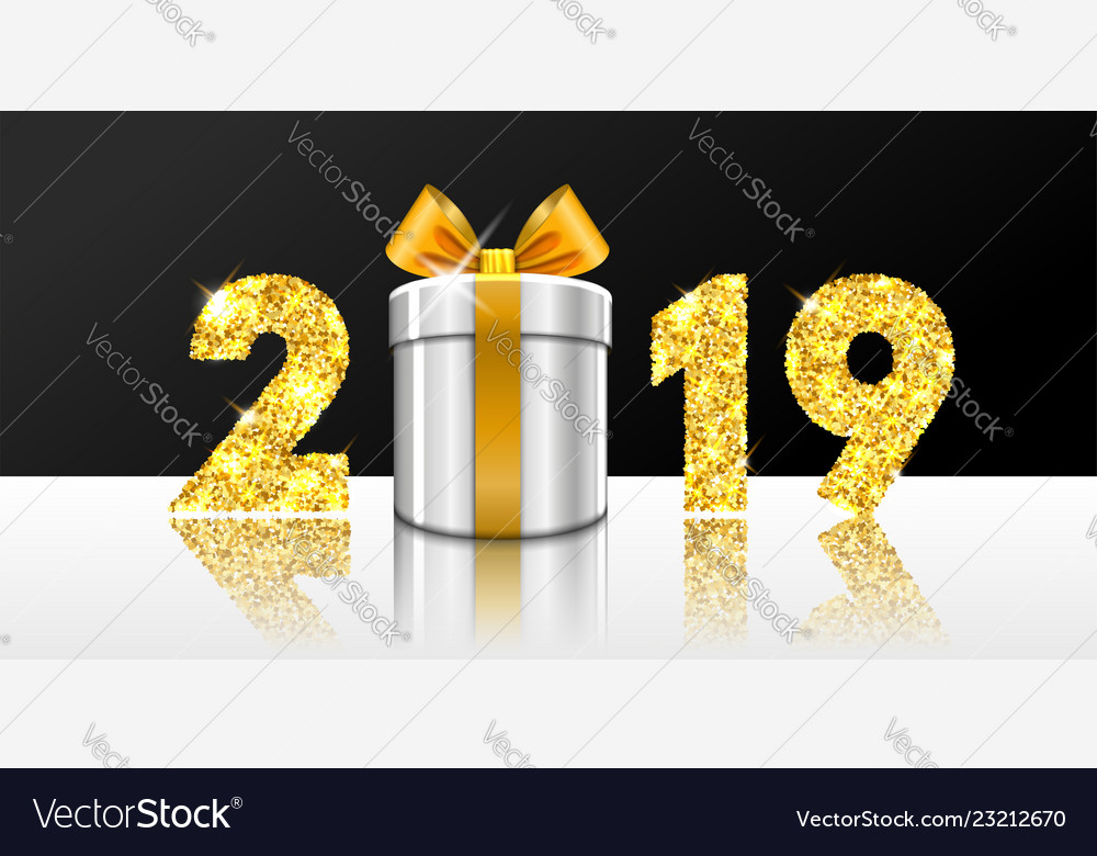 Happy new year card 3d gift box ribbon bow gold