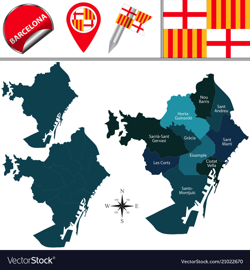 Map Of Barcelona With Districts Royalty Free Vector Image