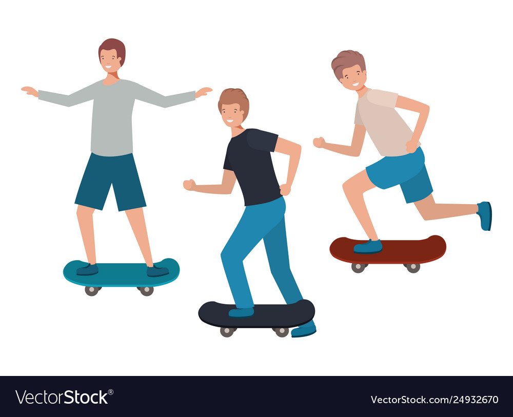 Men with skateboard avatar character