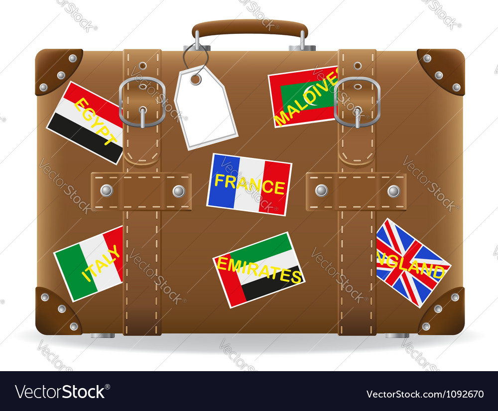 Old suitcase for travel 02 vector image