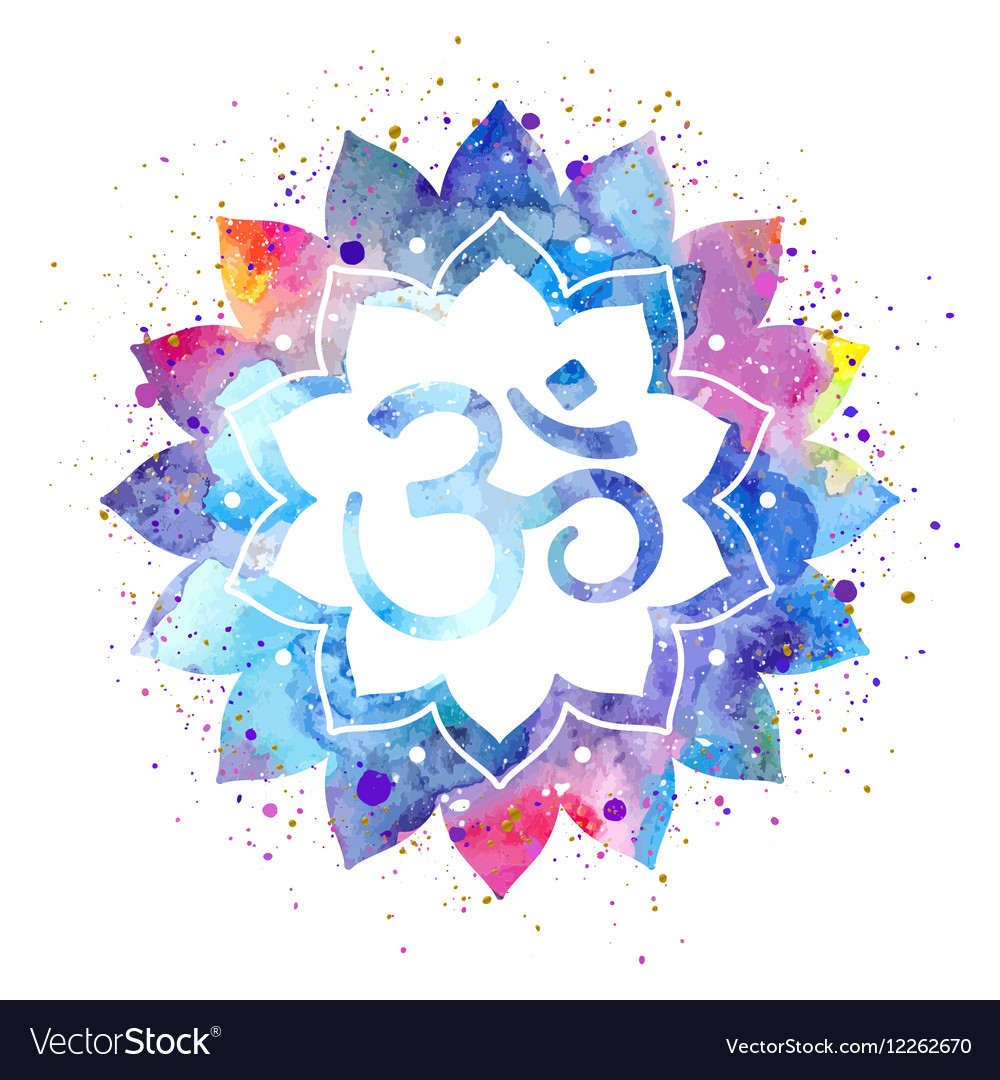 Om Sign In Lotus Flower Royalty Free Vector Image
