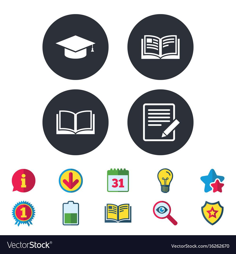Pencil and open book signs graduation cap icon