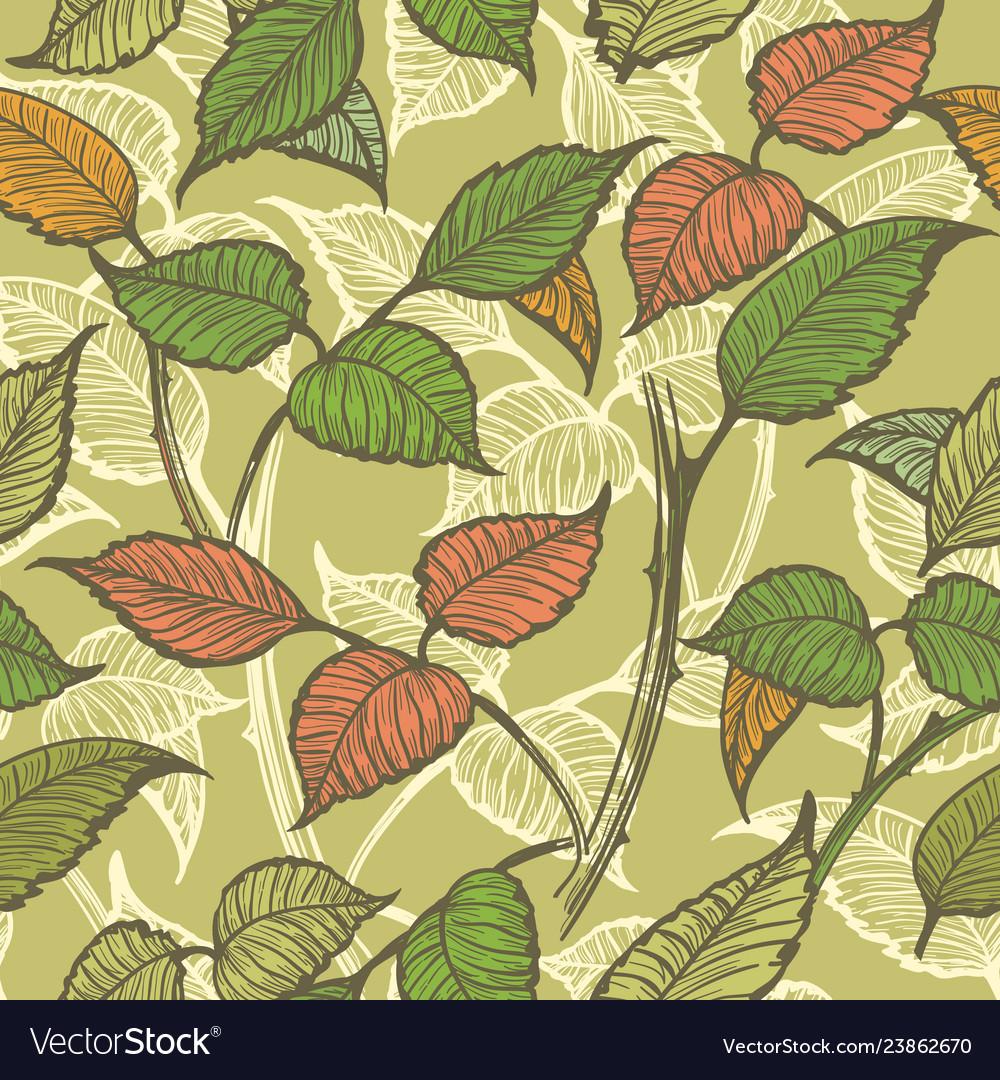 Retro leaves seamless pattern