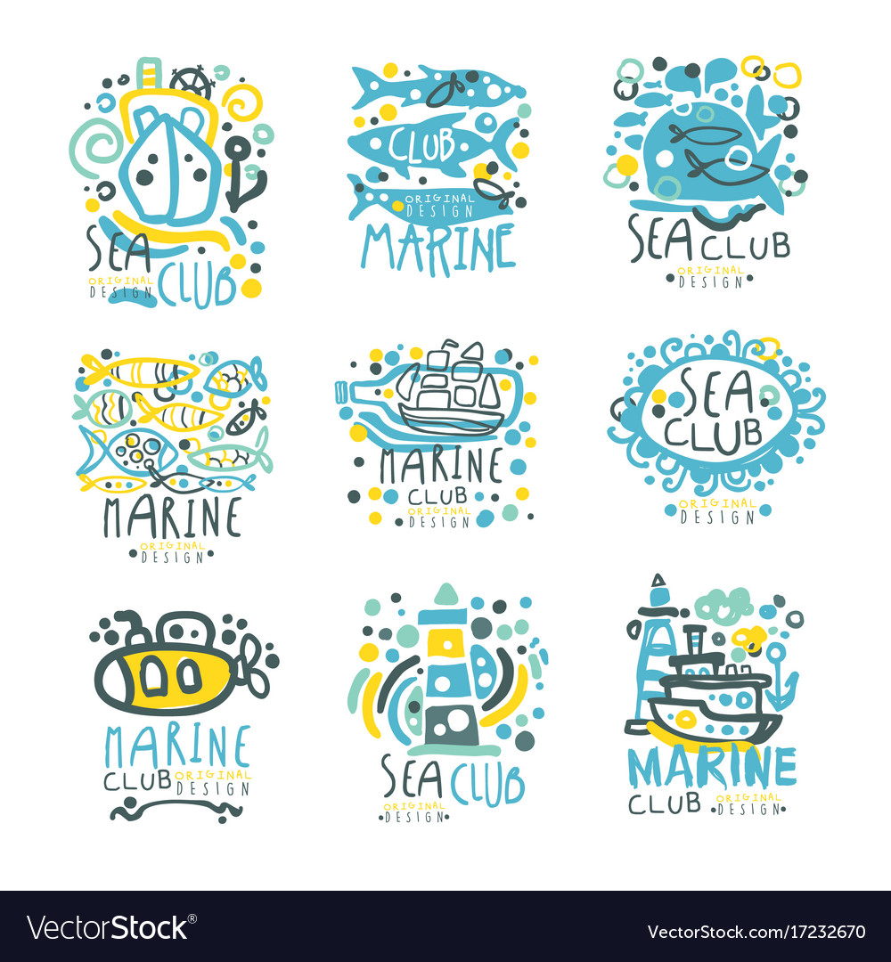 Sea club set for label design yacht club sailing vector image