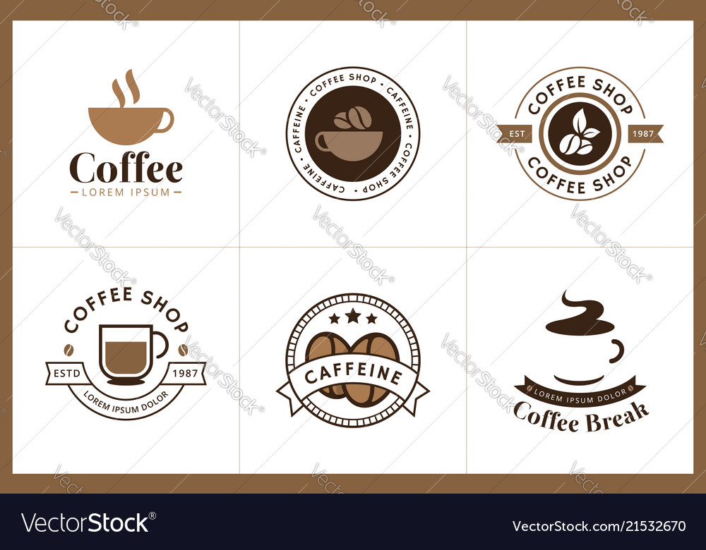 Set coffee logo and label