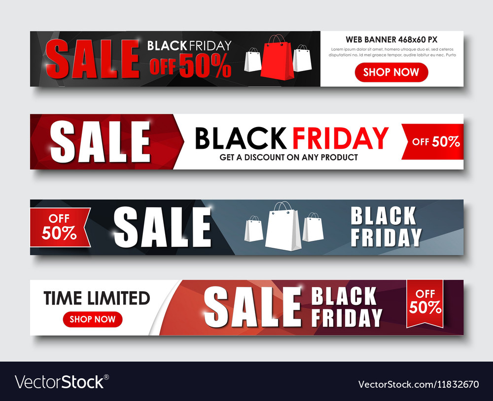 Set of web banner for sales on Black Friday vector image