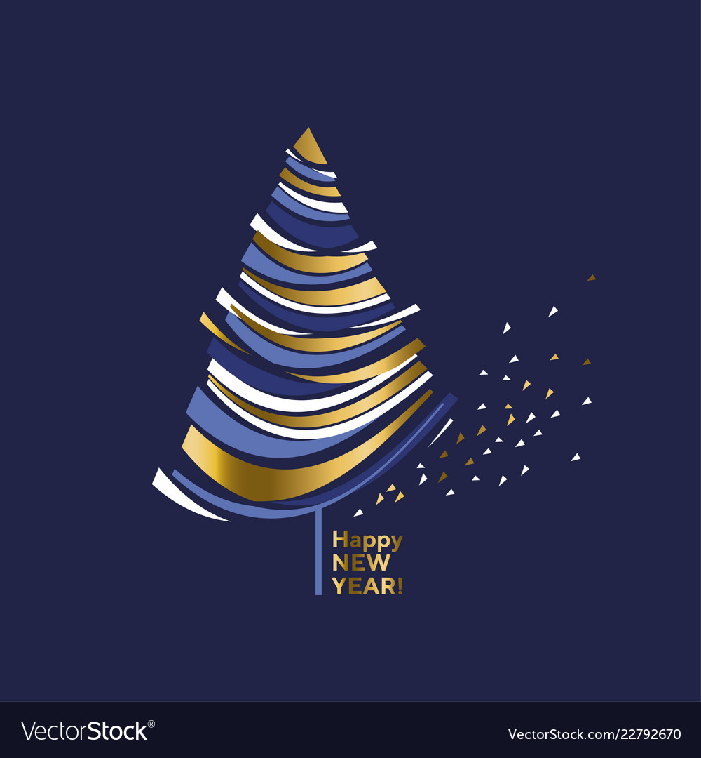 Wave Shape Gold And Blue Christmas Tree Royalty Free Vector