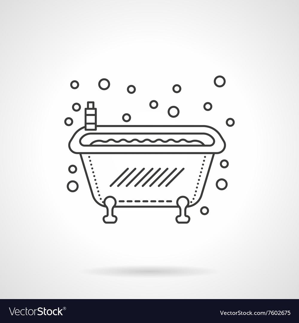 Bathtub icon flat line design icon