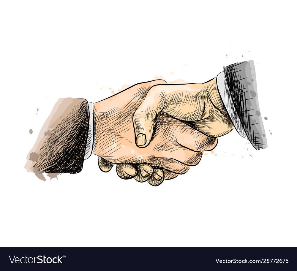 Business people shaking hands finishing up