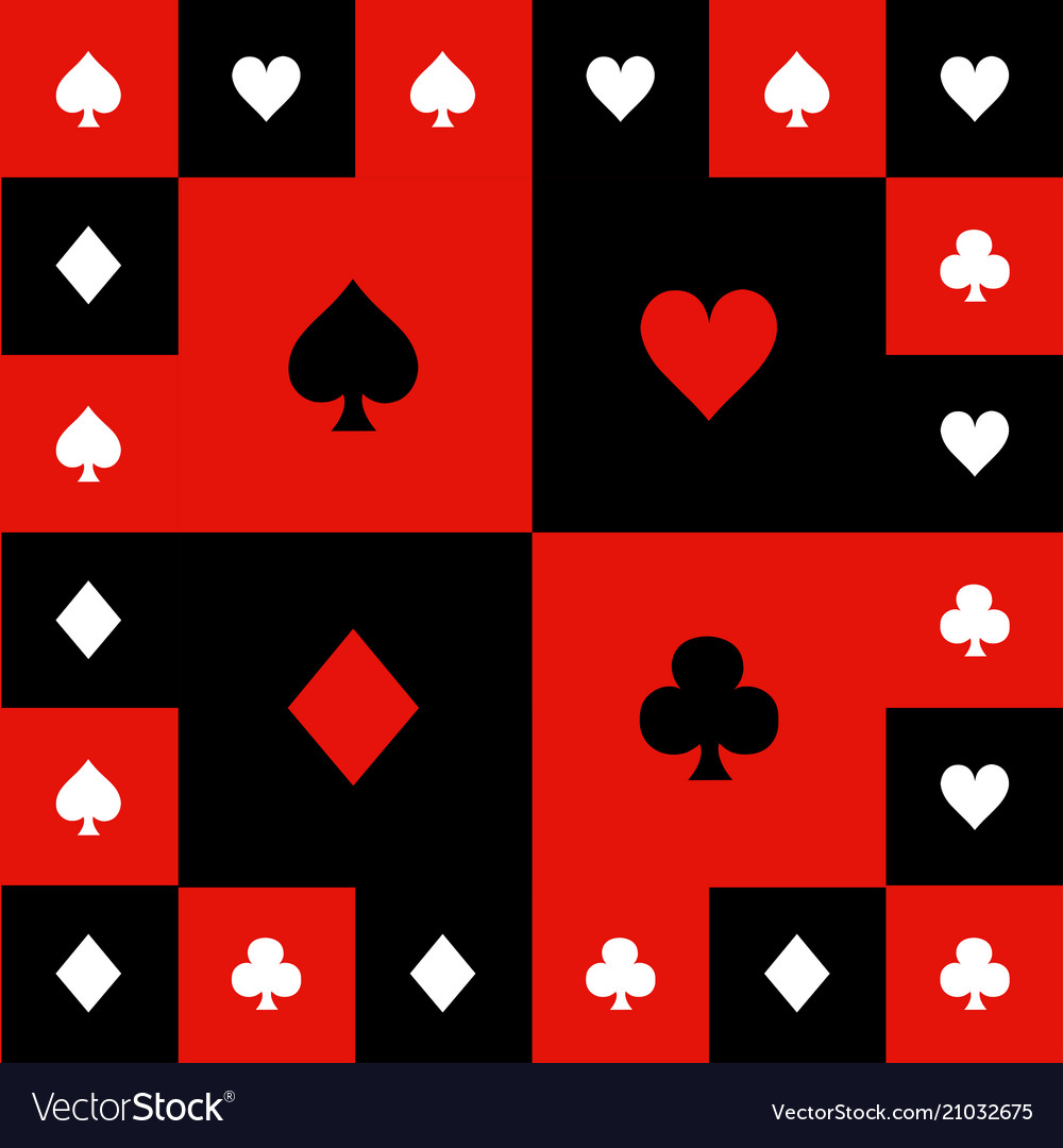 Card suits red black white chess board background