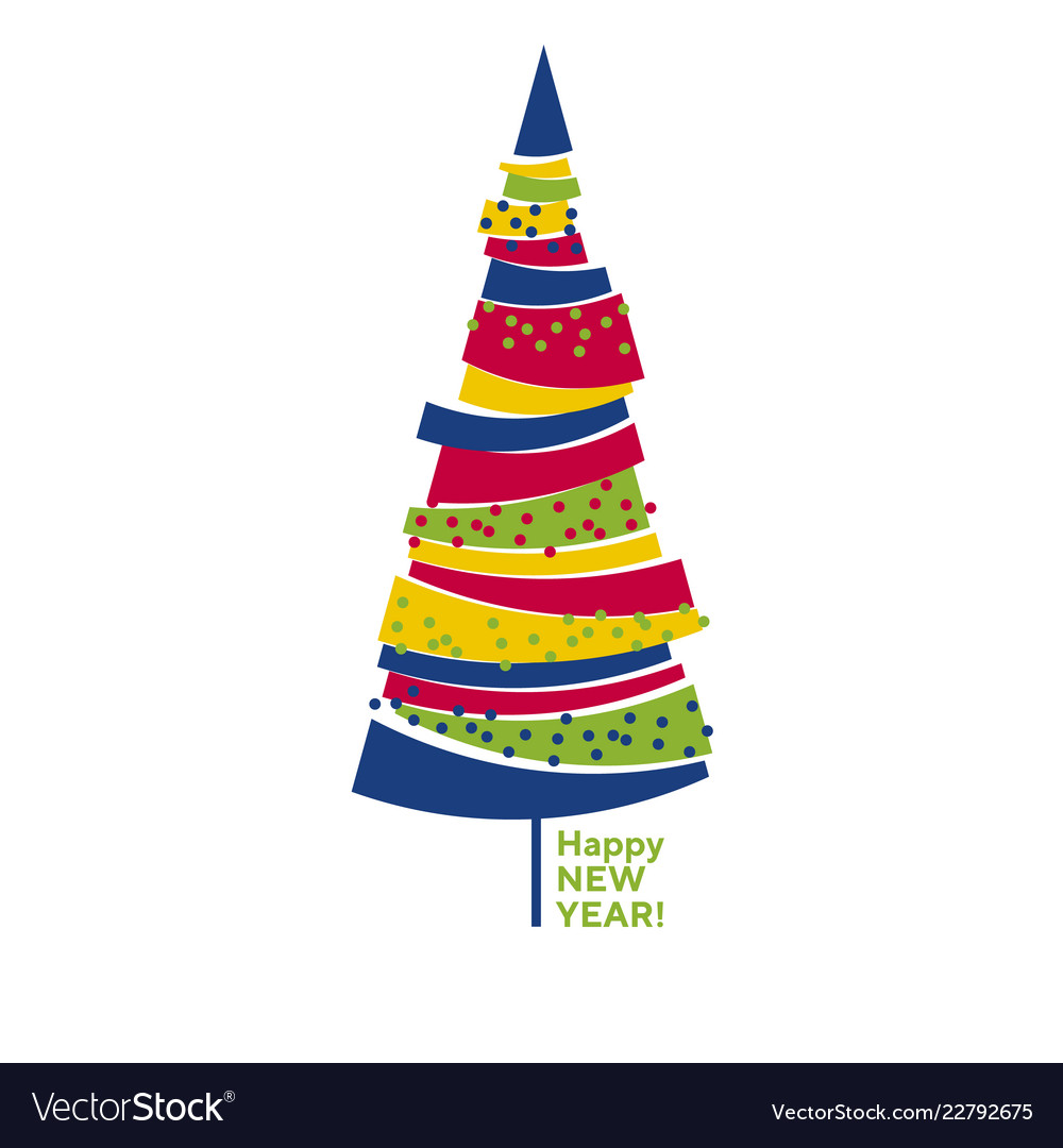 Funny colorful abstract isolated christmas tree