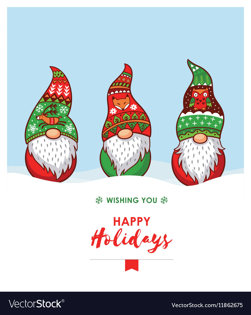 Happy Holidays card with Christmas gnomes in red