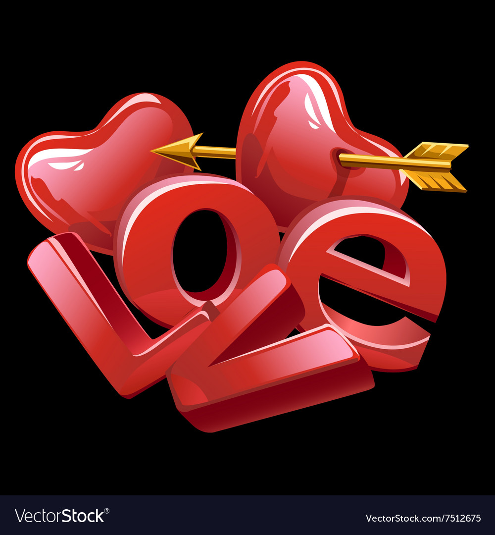 Large letters of love red heart and golden arrow