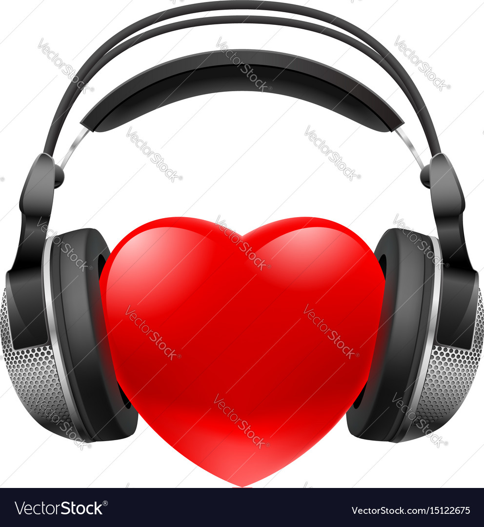 Red heart with headphones music concept on white