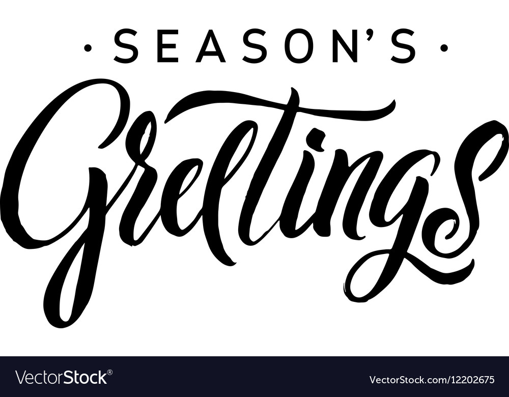 Seasons Greetings Calligraphy Greeting Card Black
