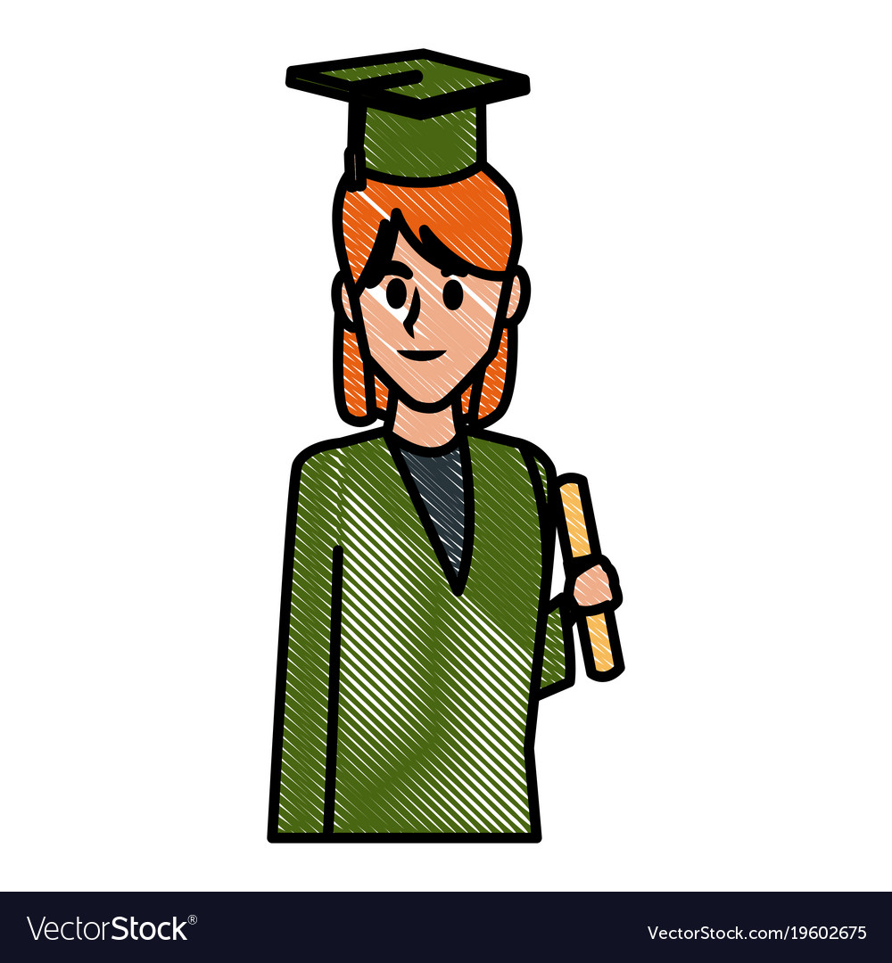 Student woman with graduation gown Royalty Free Vector Image