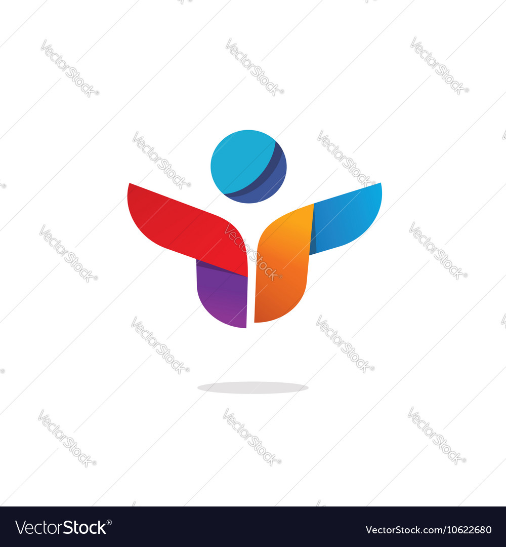 Abstract happy person shape logo isolated