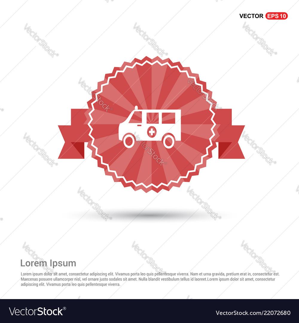 Ambulance icon - red ribbon banner