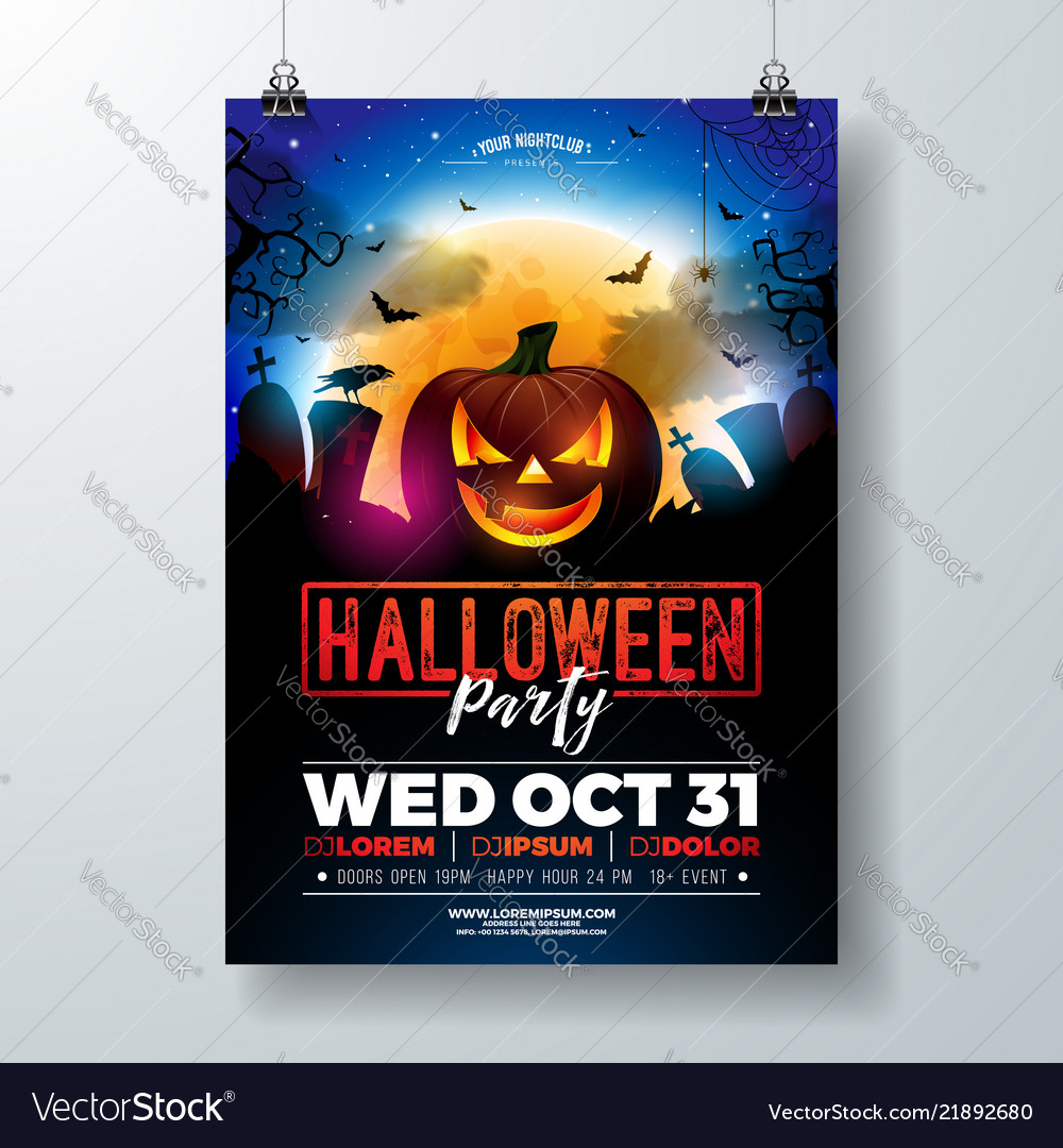halloween party flyer with royalty free vector image