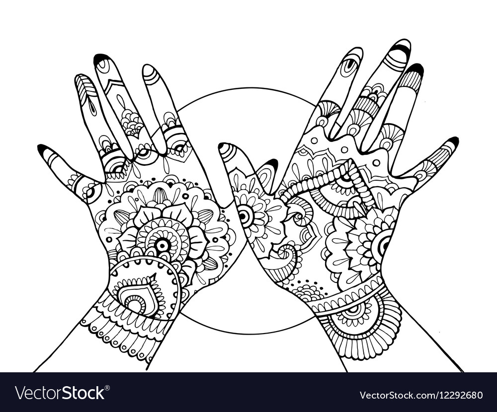 Hands With Mehndi Drawing Coloring Book For Adults Vector Image