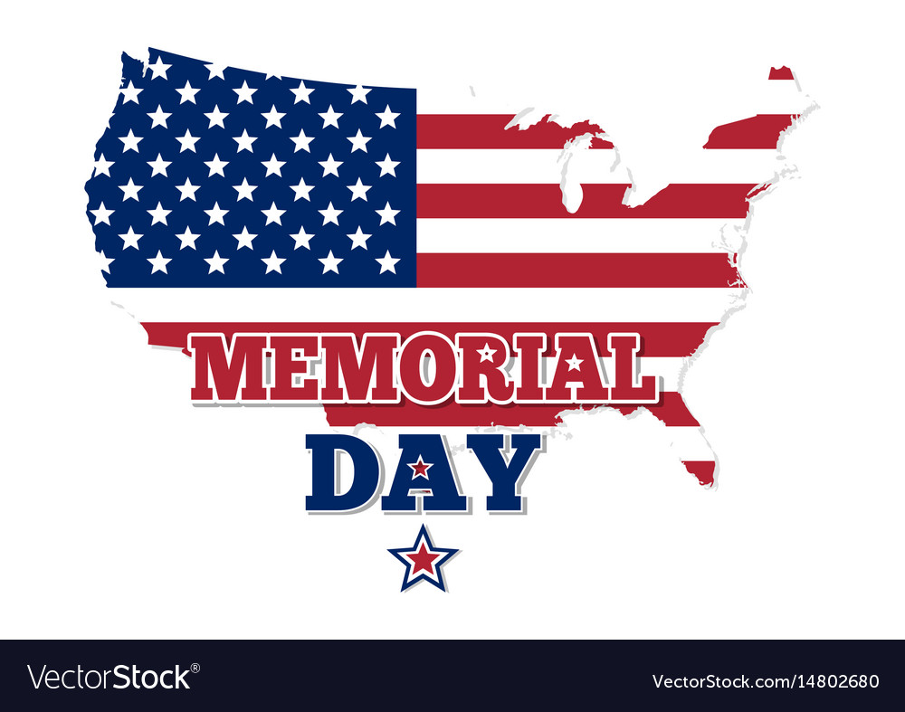 Memorial day design map of the usa