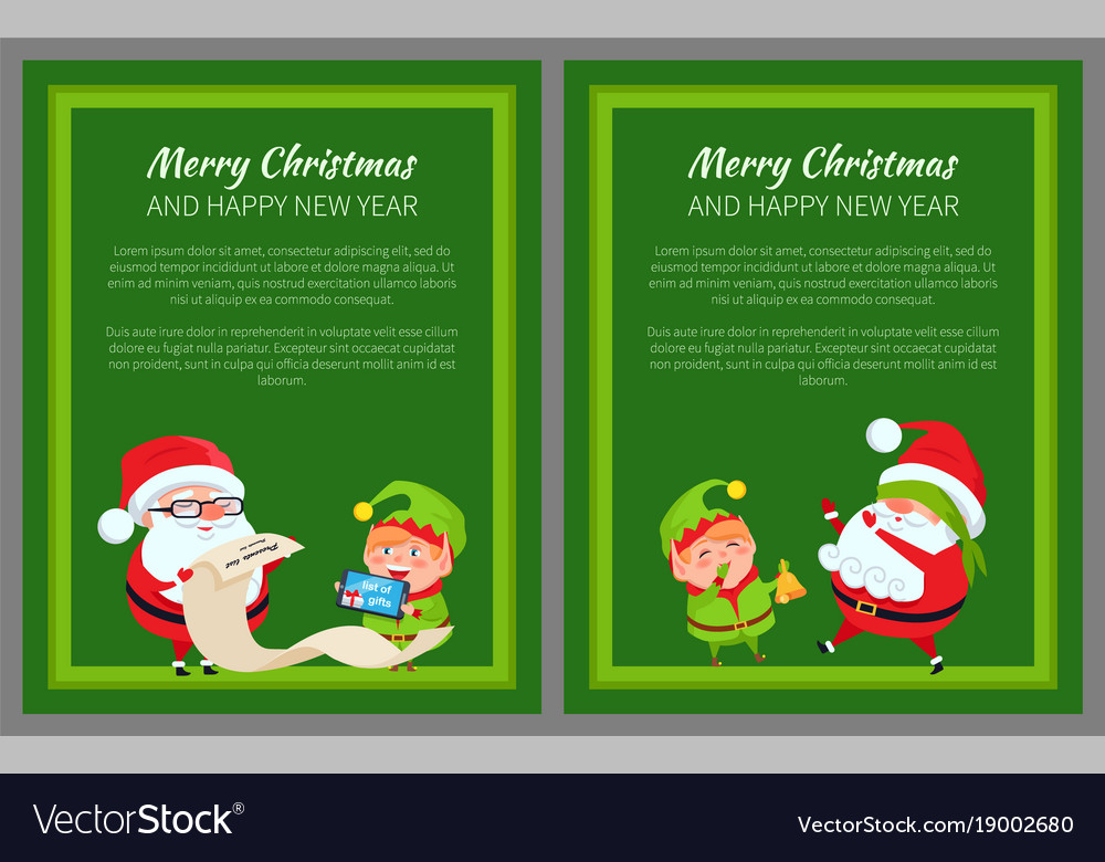 Merry christmas new year poster santa and elf vector image