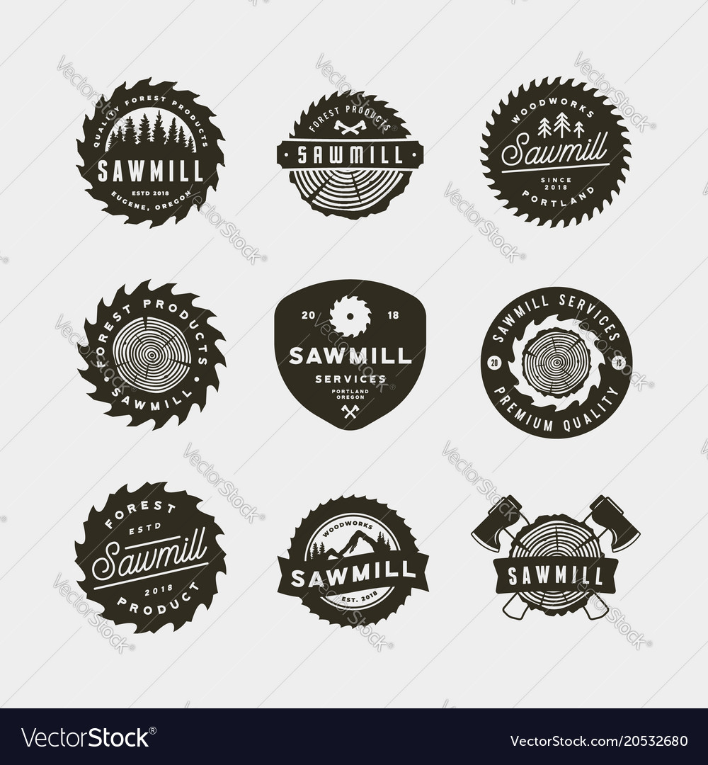 Set of sawmill logos retro styled woodwork