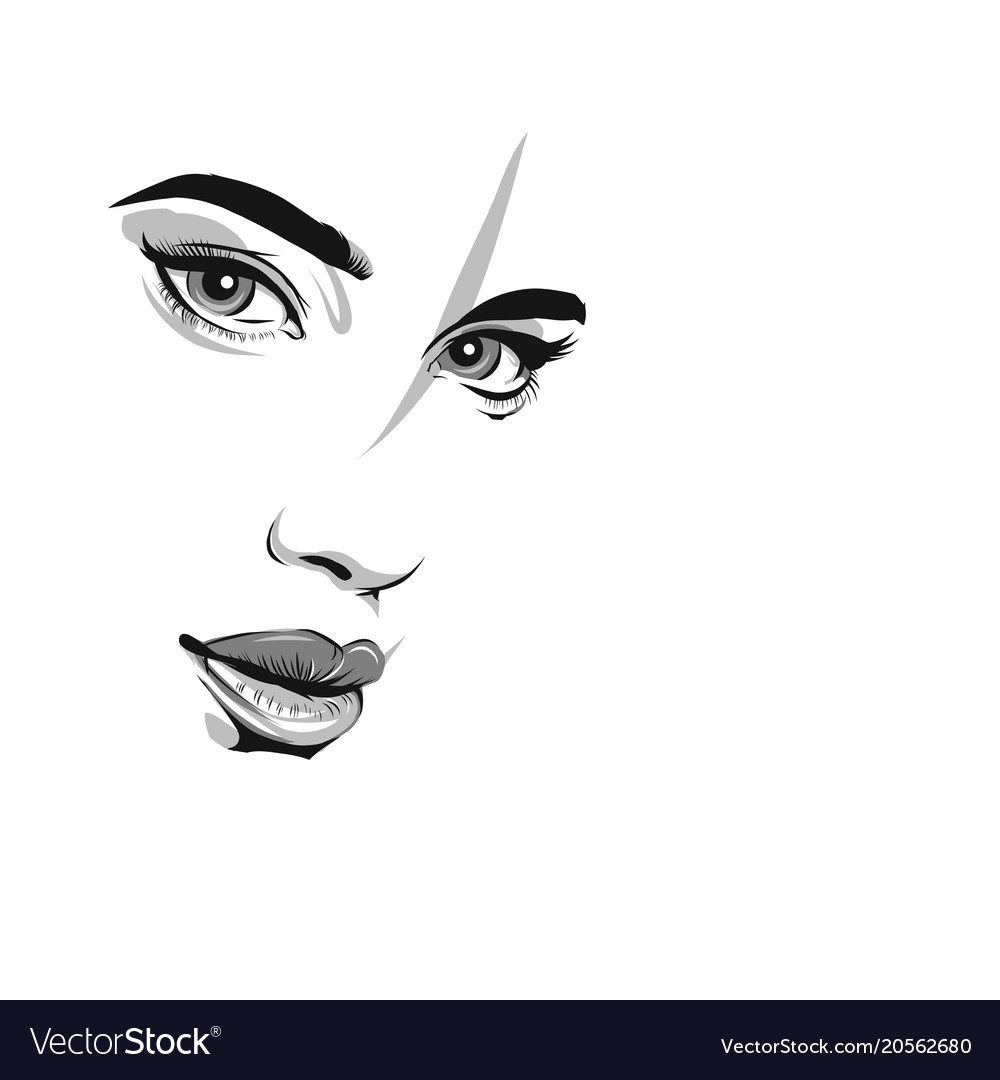 The Girls Face Is Close Up Eyes Lips Nose Vector Image