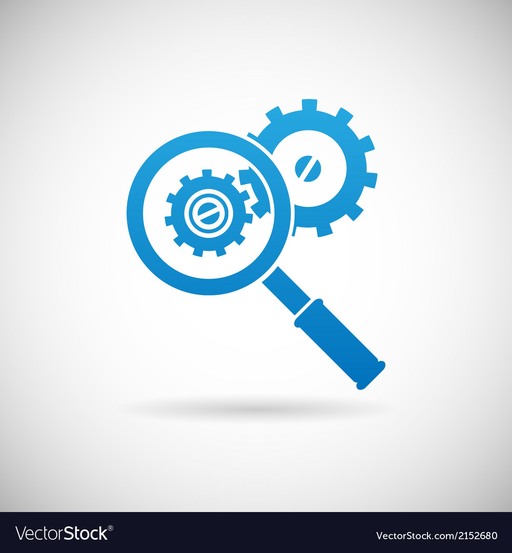 Problem Shooting: Troubleshooting Symbol Magnifying Glass And Gears Vector Image
